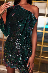 Velvet Sequin One Sleeve Ruffle Mini Dress in Emerald Green