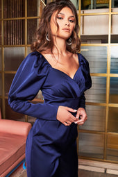 Puff Sleeve Satin Jumpsuit in Midnight Blue
