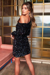 Off Shoulder Cluster Velvet Sequin Mini Dress in Iridescent Blue