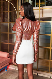Puff Sleeve Sequin Corset Mini Dress in Rose Gold