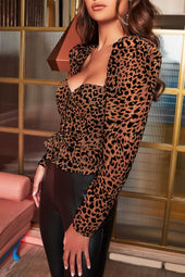 Corset Puff Sleeve Top in Leopard Velvet Devore