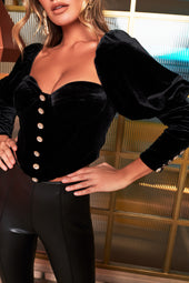 Rosie Connolly Velvet Puff Sleeve Corset Top With Diamante Buttons in Black
