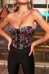 Rosie Connolly Corset Top in Rose Print