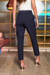 Rosie Connolly Mid Rise Satin Mix Trousers in Midnight Blue