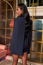 Rosie Connolly Corset Satin Mix Cape Blazer Dress in Navy