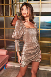 Rosie Connolly Puff Sleeve Pleated Sequin Mini Dress in Gold