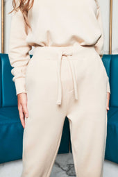 Patricia Bright Tie Waist Cuffed Relaxed Joggers in Cream