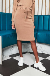 Patricia Bright Double Waistband Soft Knit Midi Skirt in Mink