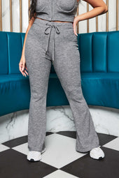 Patricia Bright Ribbed Knit Fit And Flare Trouser in Marl Grey