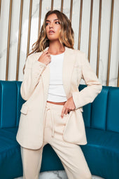 Patricia Bright Soft Knit Boyfriend Blazer in Cream