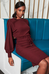 Patricia Bright Double Waistband Soft Knit Midi Skirt in Burgundy
