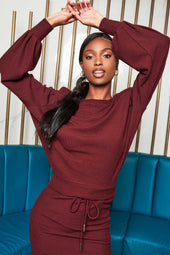 Patricia Bright Padded Shoulder Soft Knit Top in Burgundy