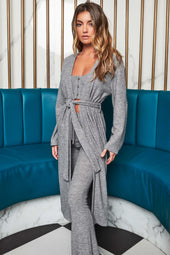 Patricia Bright Ribbed Knit Longline Cardigan in Marl Grey