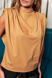 Patricia Bright High Cowl Neck Padded Shoulder Cotton Jersey Top in Camel