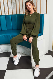 Patricia Bright High Waisted Relaxed Knitted Jogger in Khaki