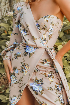 Rosie Connolly One Sleeve Corset Wrap Dress in Champagne Floral