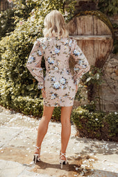 Rosie Connolly High Neck Micro Ruffle Mini Dress in Champagne Floral