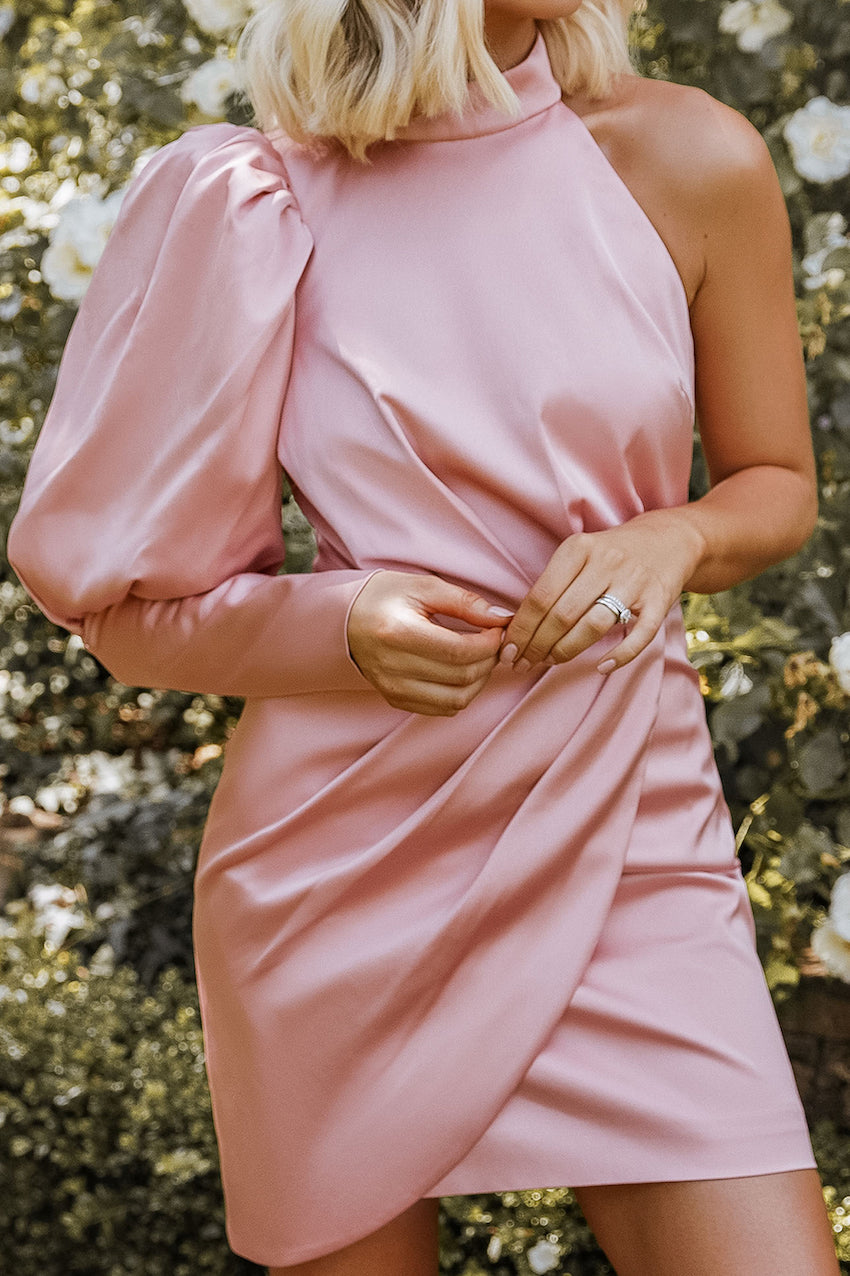 Rosie Connolly Satin Puff Sleeve Wrap Mini Dress in Rose Pink
