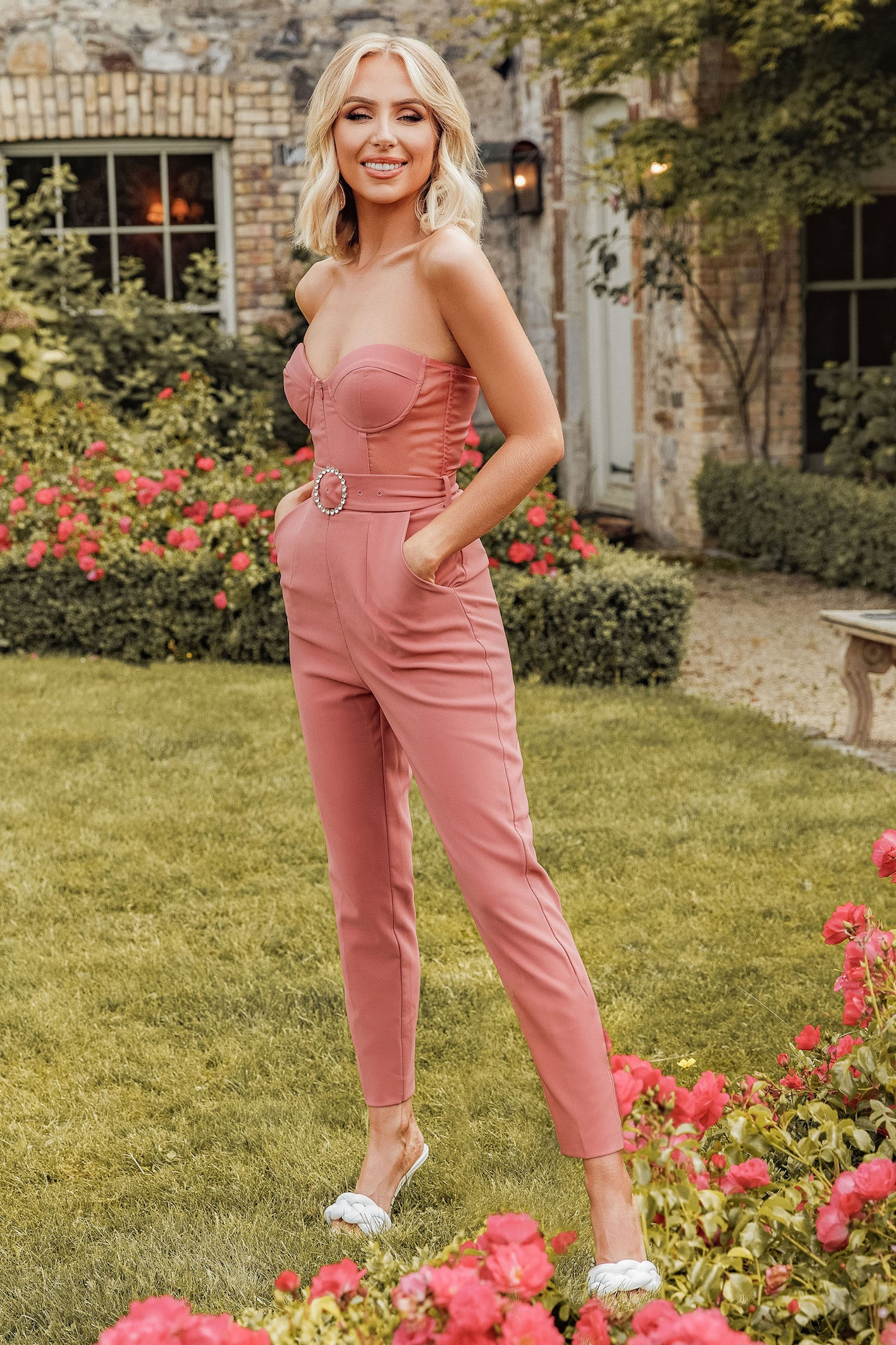 Rosie Connolly Sheer Panel Corset Jumpsuit in Rose Pink