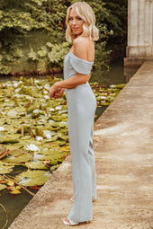 Rosie Connolly Off Shoulder Corset Jumpsuit in Pastel Blue