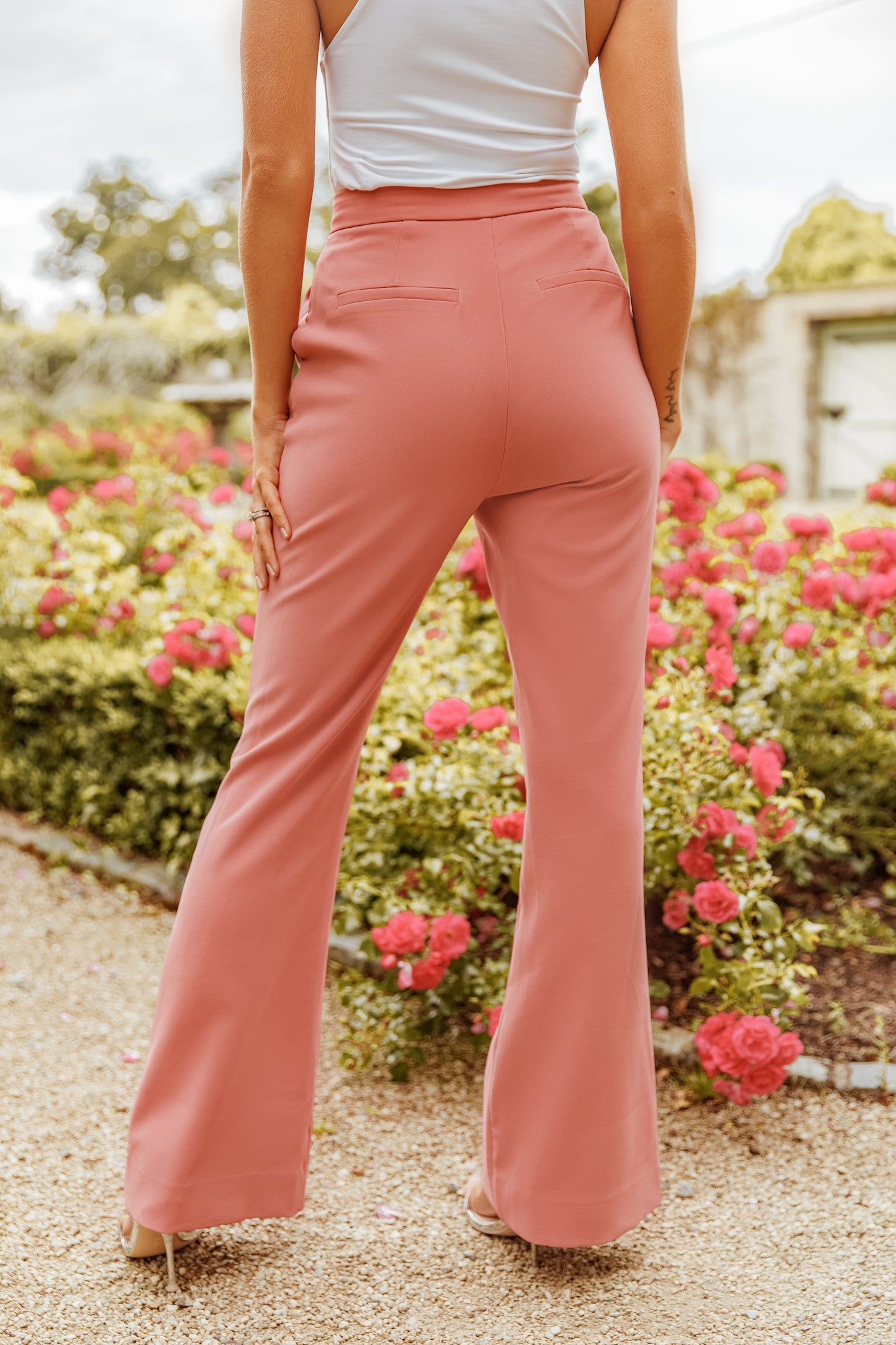 Rosie Connolly Full Length Fit And Flare Trousers in Pink