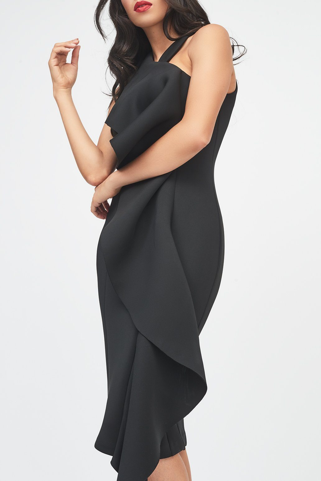 Black Scuba Exaggerated Frill Halterneck Midi Dress