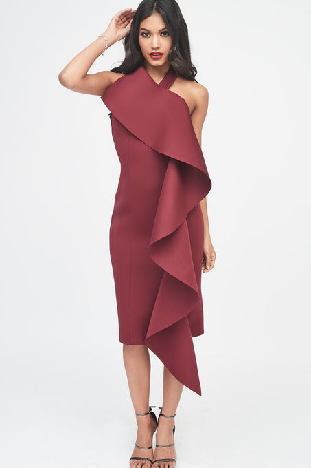 Burgundy Scuba Exaggerated Frill Halterneck Midi Dress