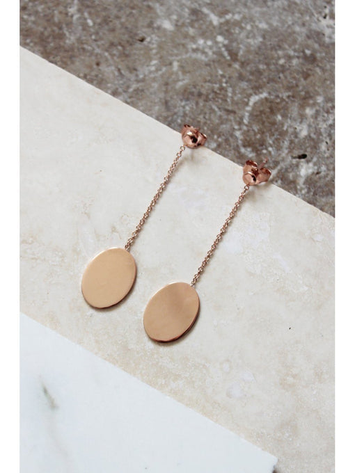 Sterling Silver Rose Gold Plated Drop Chain Oval Earrings