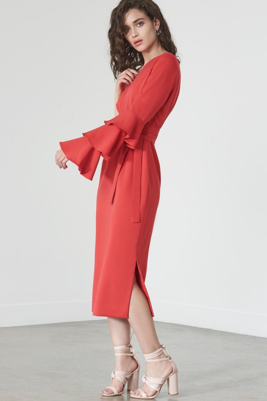 Ruffle Single Sleeve Dress in Red