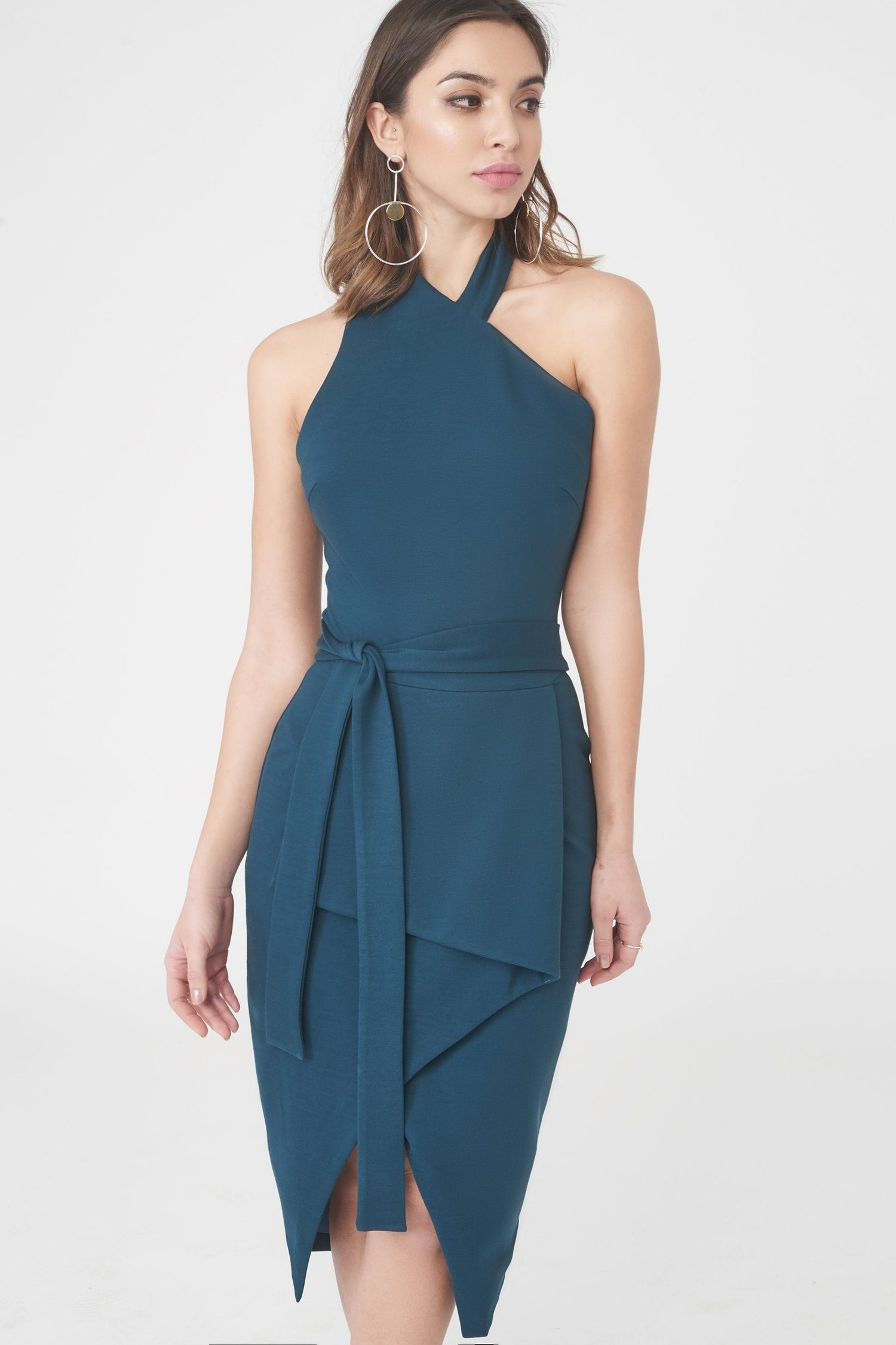 Asymmetric Tie Waist Midi Dress