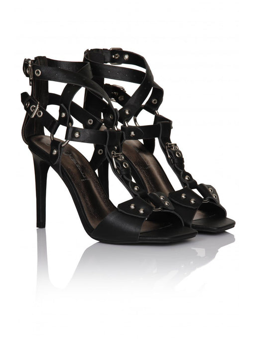 Anastasia Black Leather Harness Strap Heeled Sandals