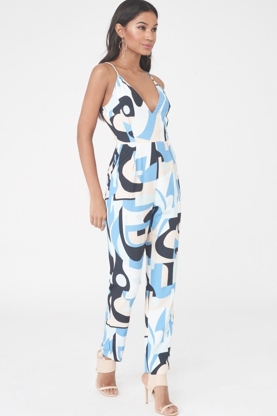 Abstract Print High Apex Jumpsuit