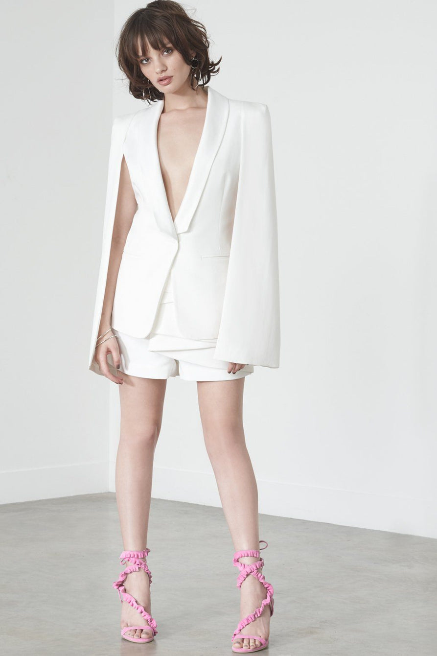 Satin Lapel Caped Blazer in Off White