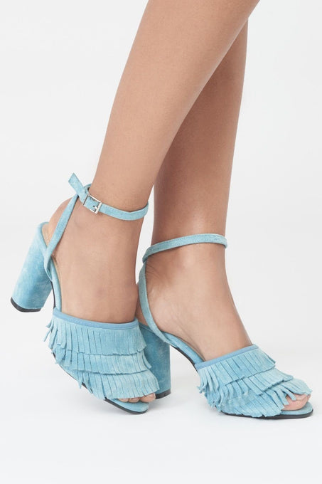 Fringed Block Heels in Blue Suede