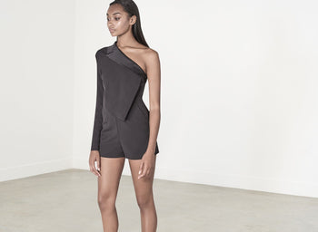 Black Asymmetric Cold Shoulder Satin Lapel Playsuit