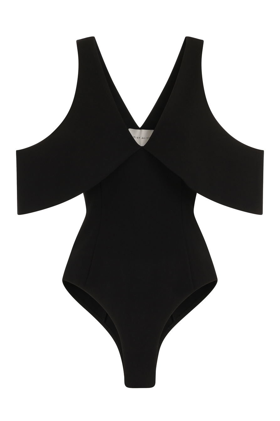Black Plunge Open Sleeve Thong Bodysuit