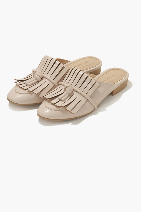 Fringed Mules in Nude Leather