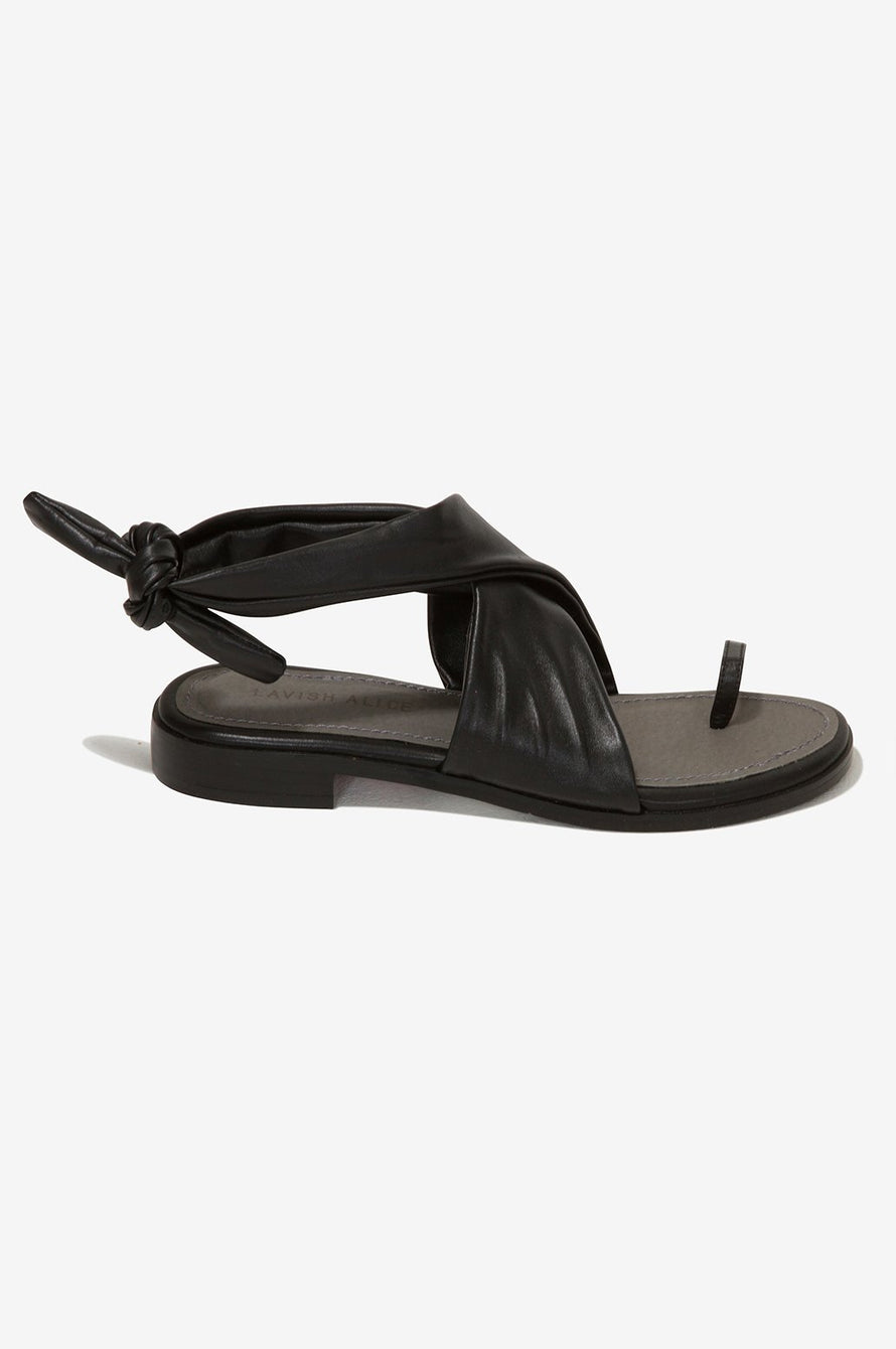 Leather Wrap Sandals in Black