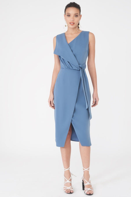 Asymmetric Fold Over Midi Dress