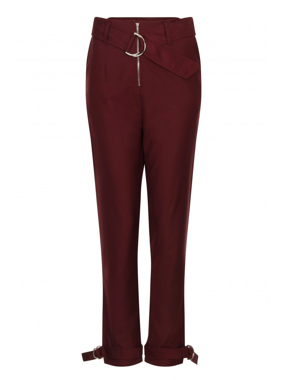 Aubergine D-Ring Belt & Cuff Tapered Leg Trousers