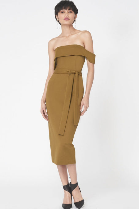 Asymmetric Bandeau Midi Dress In Khaki