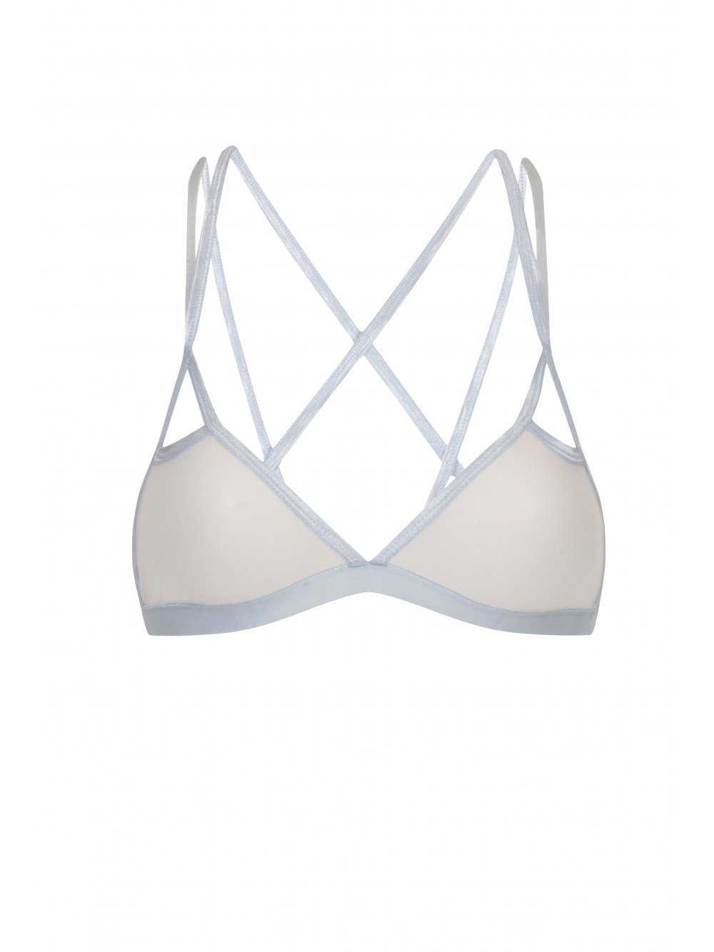 Powder Blue Strap Detail Cut-Out Mesh Bralet
