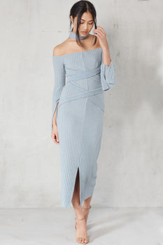 Powder Blue Rib Knit High Neck Wrap Around Belt Midi Dress