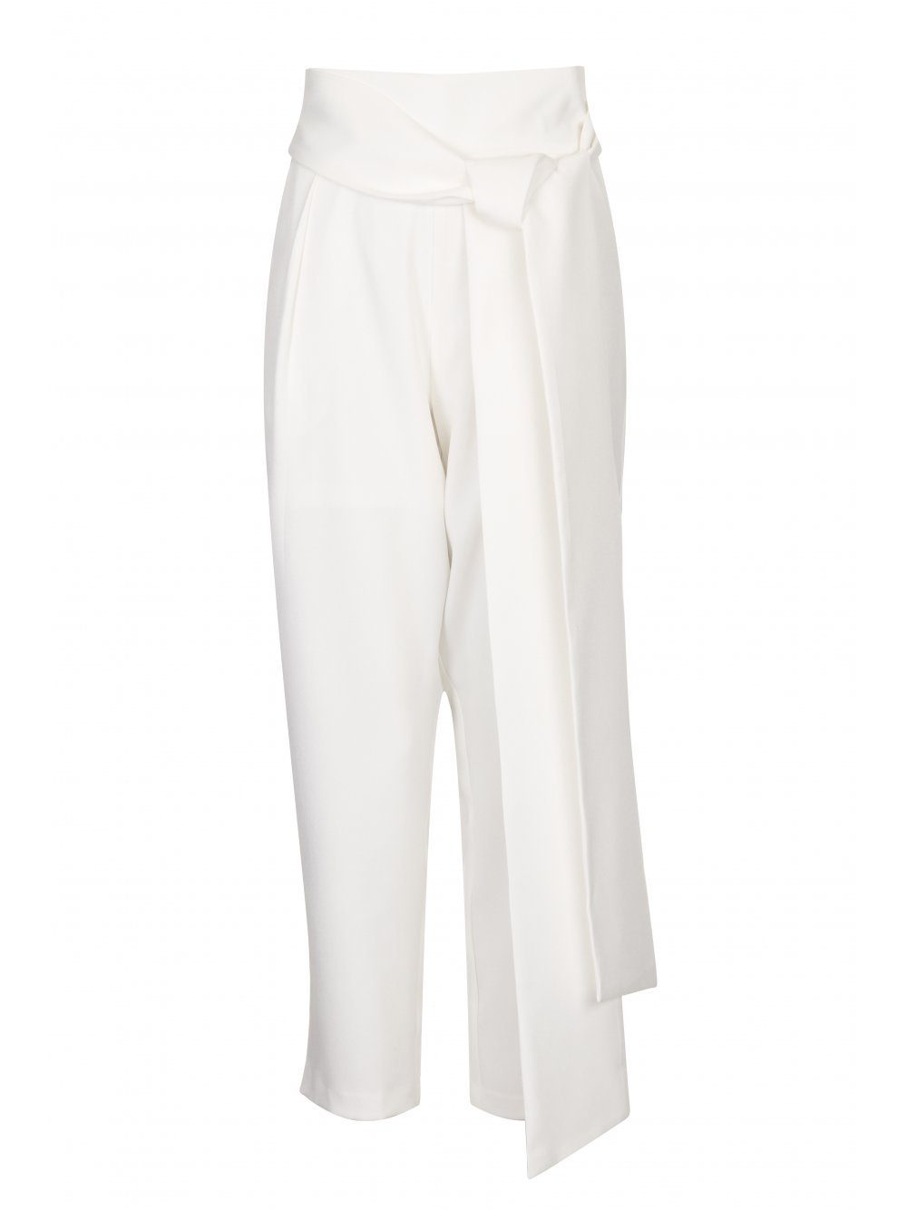 White Peg Leg Belted Trousers