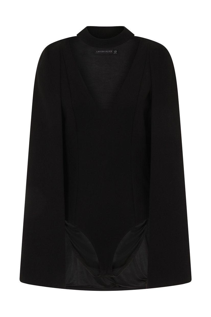Black Keyhole Neck Plunge Cape Bodysuit