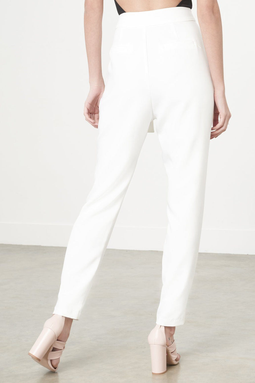 Wrap-Front Crop Trousers in White