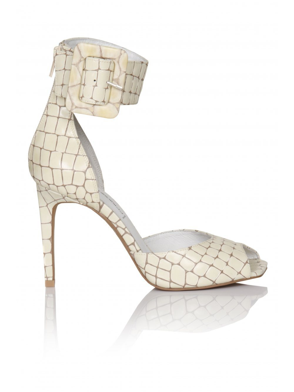 Mikado Ivory Croc Leather Ankle Cuff  Sandals