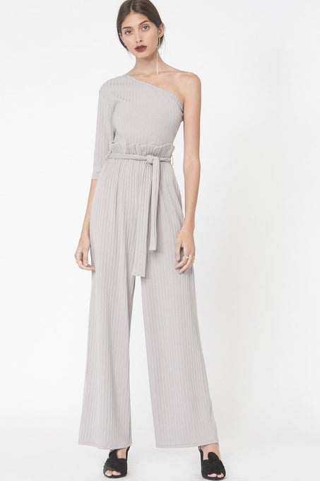 One Shoulder Paperbag Waist Rib Knit Jumpsuit in Grey