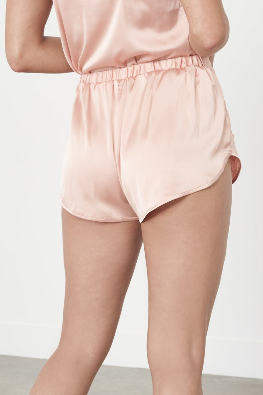 Nude Satin & White Crochet Pyjama Shorts
