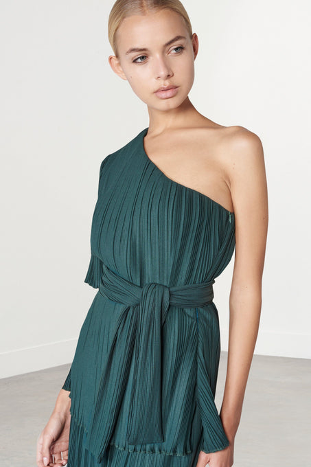Forest Green Pleated One Shoulder Tie Front Top